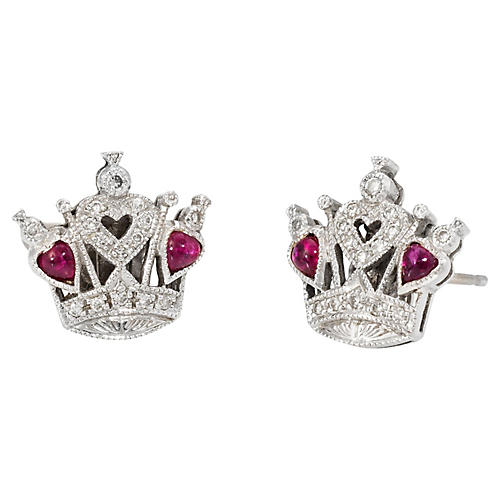 Queen of Hearts Diamond Ruby Earrings