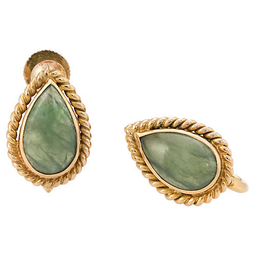 14K Pear Cut Jade Earrings