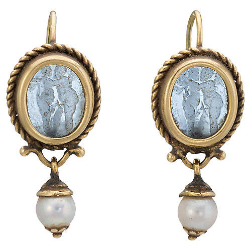 Venetian Glass Cherub Drop Earrings