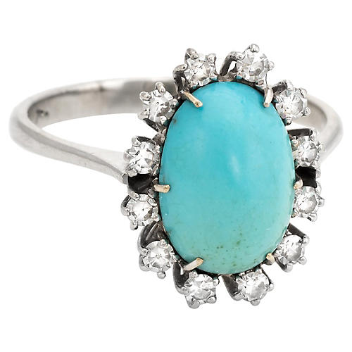 Persian Turquoise Diamond Cocktail Ring
