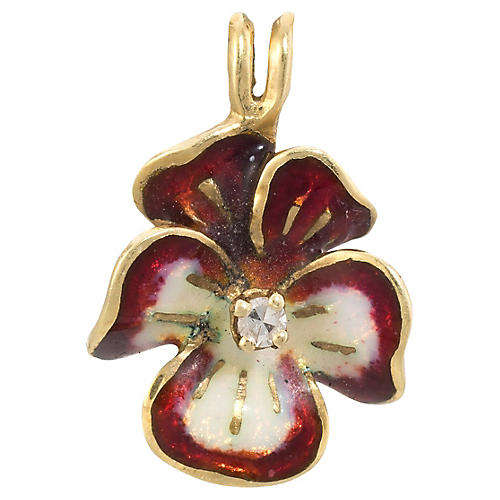 Red Enamel Diamond Pansy Pendant Charm