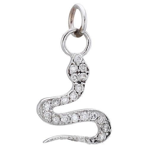 14K Diamond Snake Charm Pendant