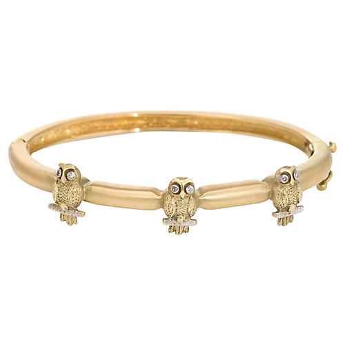18K Three Owls Bangle