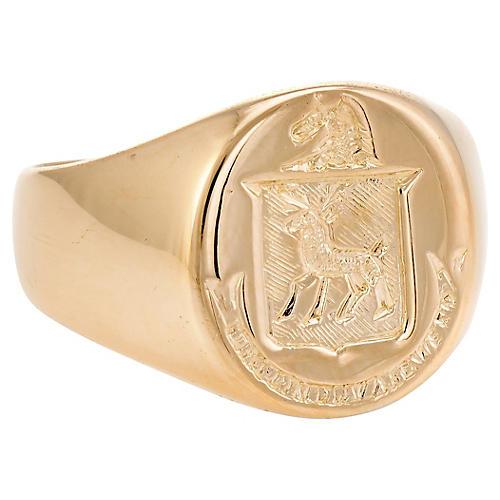 18K Mens Family Crest Signet Ring