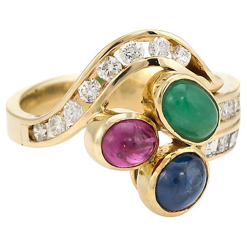 14K Gemstone & Diamond Cluster Ring