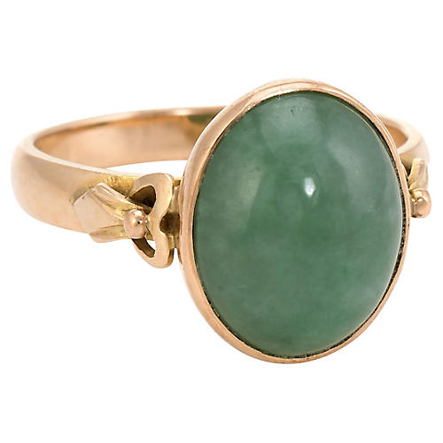 14K Oval Jade Cocktail Ring