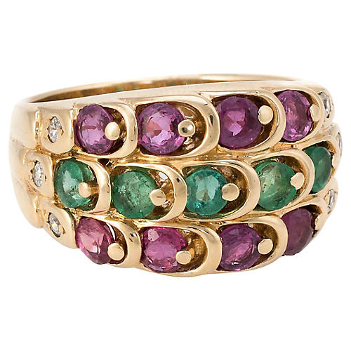 14K Emerald Ruby & Diamond Cigar Band