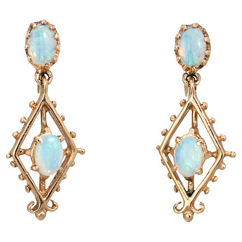 14K Opal Drop Earrings