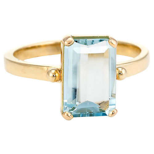 14K Aquamarine Cocktail Ring