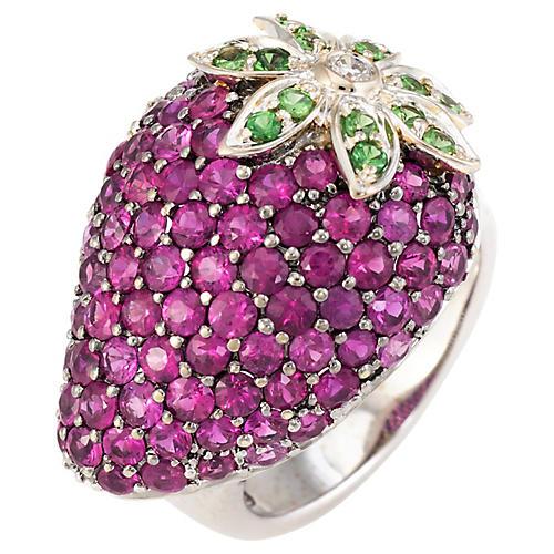 Ruby, Tsavorite & Garnet Strawberry Ring