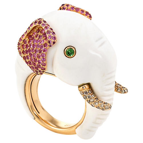 Diamond & Ruby Elephant Cocktail Ring