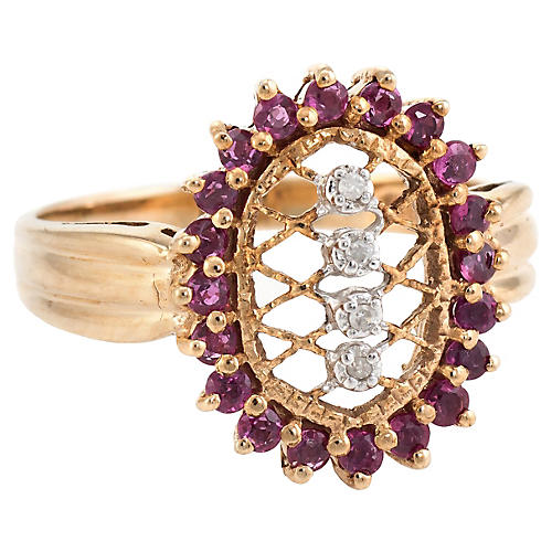 Ruby Diamond Lattice Cocktail Ring