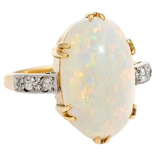 Art Deco Opal & Diamond Cocktail Ring