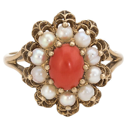 Red Coral Cultured Pearl Cocktail Ring