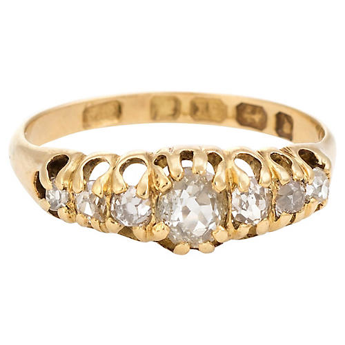 Victorian Old Mine Cut 7 Diamond Ring