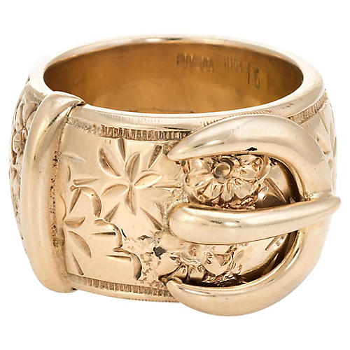 Large Etched Flower Buckle Ring
