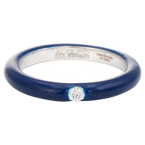 Adolfo Courrier Navy Enamel Diamond Ring