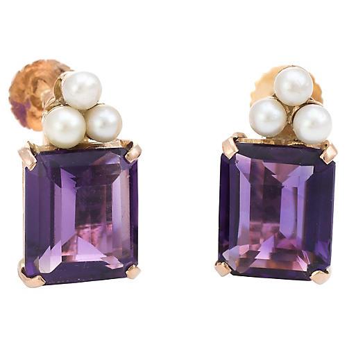 Amethyst & Cultured Pearl Earrings