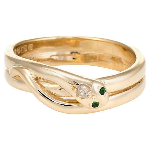 9K Gold, Diamond & Emerald Snake Ring