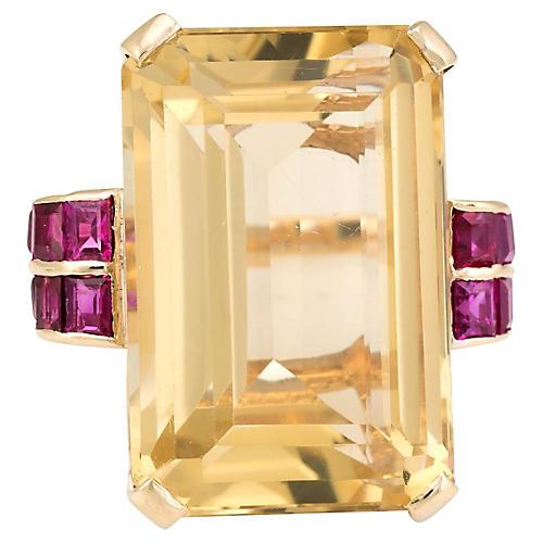 Citrine Ruby Cocktail Ring 14k Gold