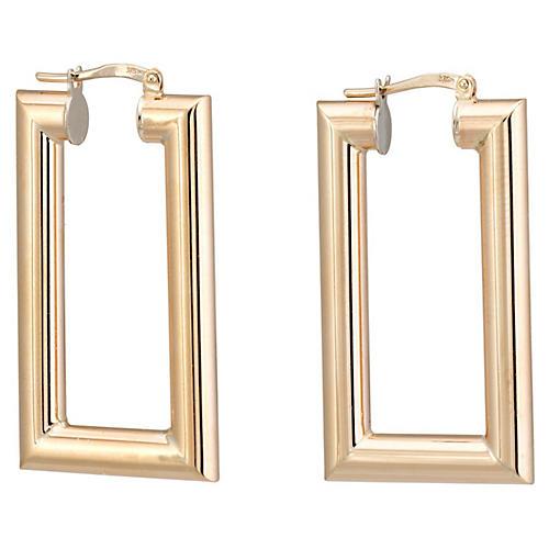 9K Gold Rectangular Hoop Earrings