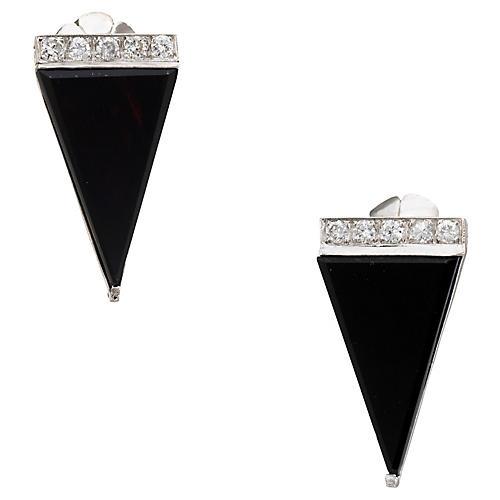 Platinum, Onyx & Diamond Earrings