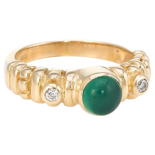 14K Gold, Chrysoprase & Diamond Ring