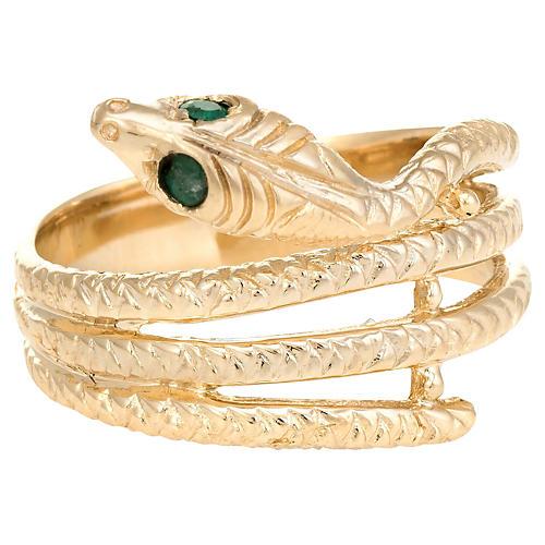 14K Gold & Emerald Snake Ring