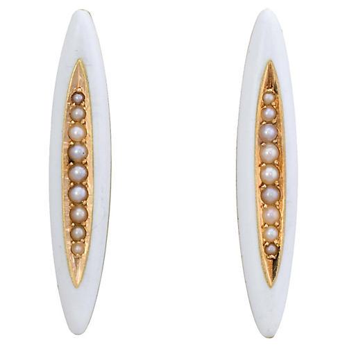 Victorian White Enamel Earrings