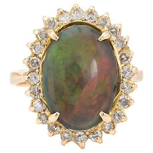 Natural Black Opal & Diamond Ring