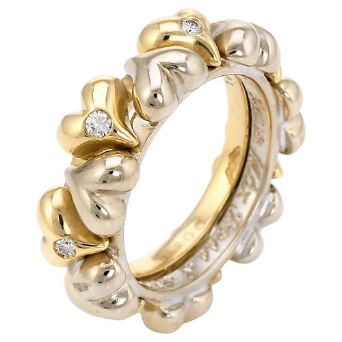 Puffed Hearts Eternity Ring