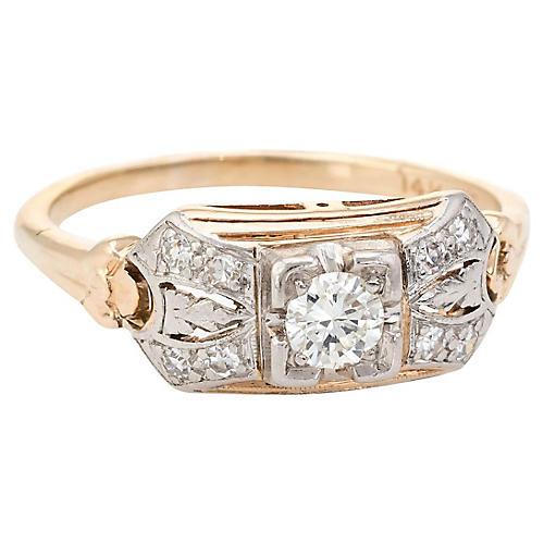 Art Deco 14K Gold & Diamond Ring