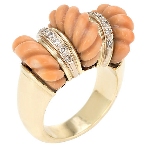 14K Gold, Fluted Coral & Diamond Ring
