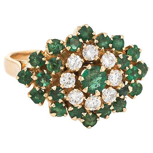 18K Gold, Emerald & Diamond Cluster Ring