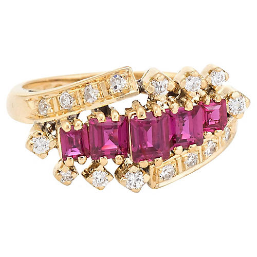 18K Gold, Ruby & Diamond Ring