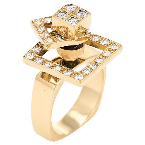 18K Norman Teufel Diamond Spinner Ring
