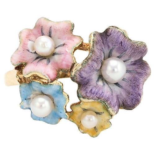 Antique Art Nouveau Enamel Flower Ring