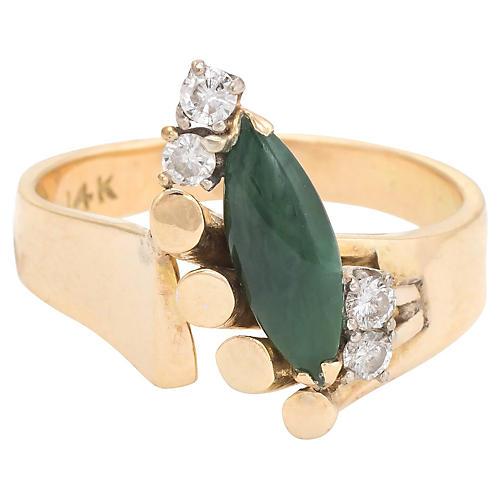 1970s Jade & Diamond Cocktail Ring