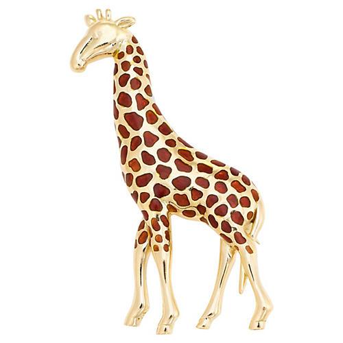 18k Gold Giraffe Brooch
