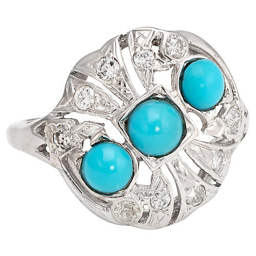 Deco 14K Gold,Turquoise & Diamond Ring