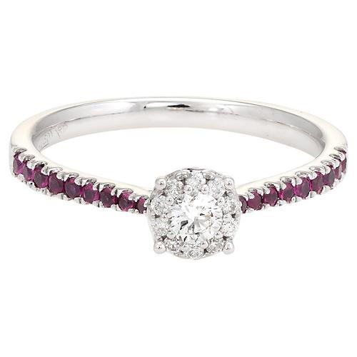 18K Gold, Diamond & Ruby Halo Ring