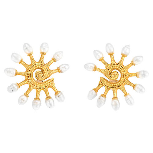 Ilias Lalaounis Pearl Earrings Byzantine