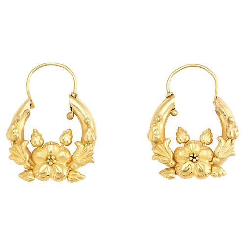 18K Flower Hoop Earrings