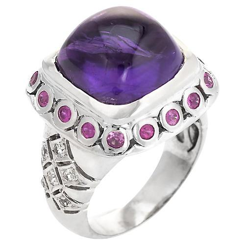 Amethyst, Ruby & White Sapphire Ring