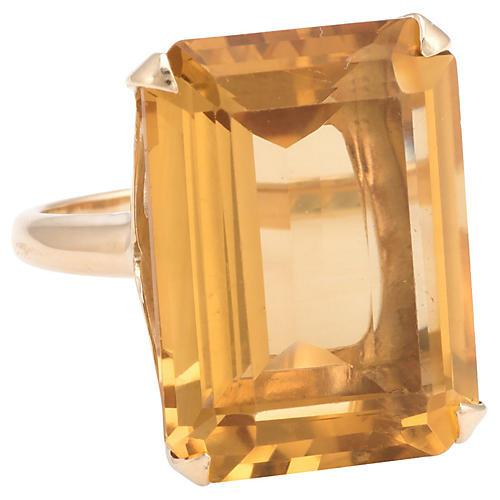 Emerald-Cut Citrine Ring