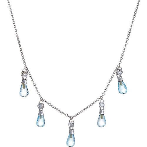 Blue Topaz & Diamond Fringe Necklace