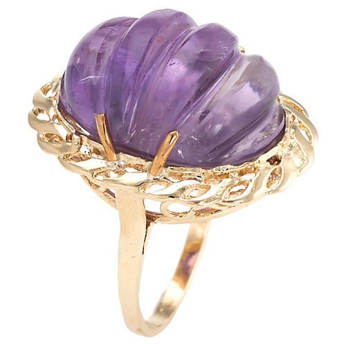 Fluted Amethyst Ring 14k Gold