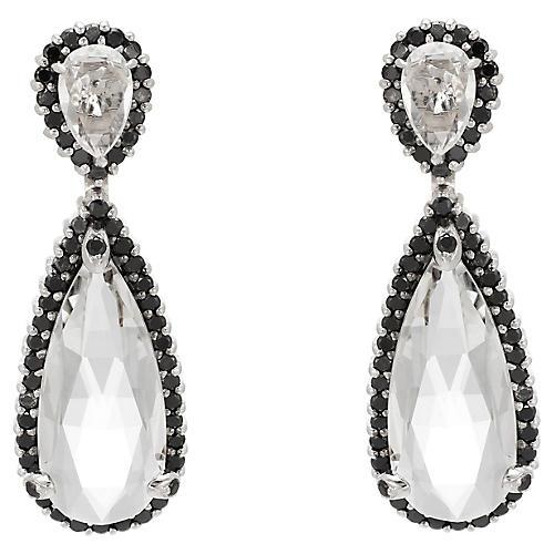 Black Diamond & White Quartz Earrings