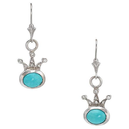 Turquoise & Diamond Crown Earrings