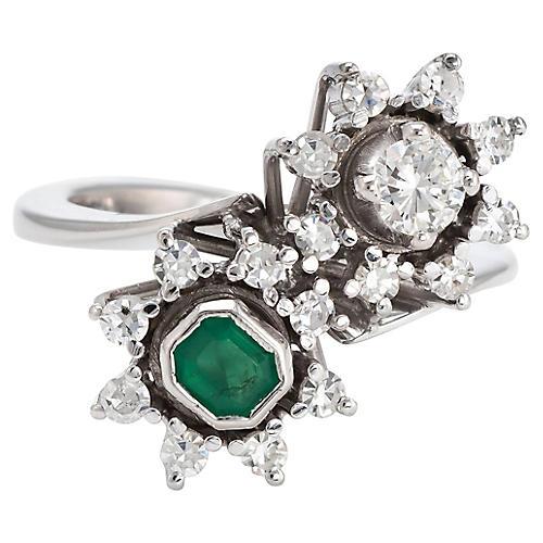 Toi et Moi Diamond & Emerald Ring